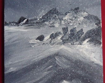 Original acrylic painting on canvas board 5x7in - Pembrokeshire Grey Seascape