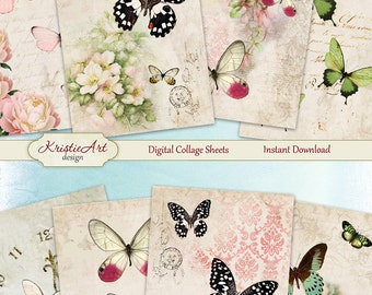 75% OFF SALE Butterfly Garden - Digital Collage Sheet Digital Cards C088 Printable Download Image Tags Digital Atc Card ACEO Butterfly Cards