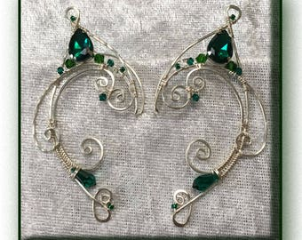 Wire Elf Ears, Elf Ear Cuff, 'Twirl Style' In Sterling Silver Filled wire, and Green Swarovski Crystals