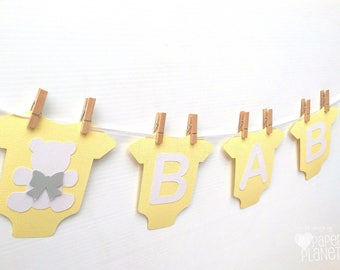 Yellow BABY Banner with teddy bear, baby bodysuit, romper shape. Party Bunting, Photo prop. Baby Shower Banner with text. Pastel yellow grey