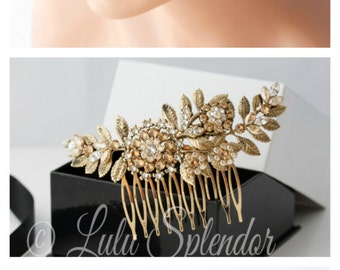 Bridal Hair Comb Vintage Leaf Leaves Wedding Comb Antique Gold  Golden Shadow Crystal Pearl Side Comb Hair Accessories  IVY