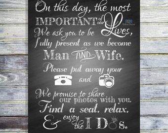Unplugged Wedding Sign - Printable Unplugged Ceremony Sign - Unplugged Sign - Wedding Ceremony Sign - Wedding Decoration - Wedding Signage