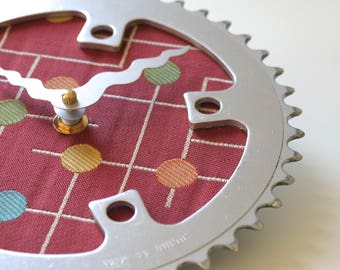 Bicycle Gear Clock - Modern Gumdrops in Red | Bike Clock | Wall Clock | Recycled Bike Parts Clock