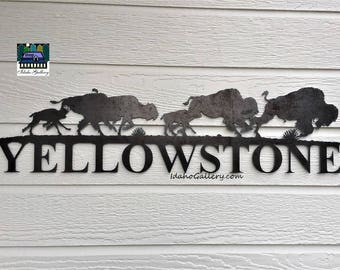 Fathers Day Buffalo Yellowstone Sign Can Be Customized Metal Art Rustic Garden Art Yard Art Wall Art Indoor Outdoor Natural Steel Art