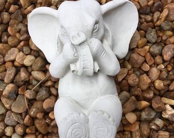 Concrete Cement Baby Elephant Lawn and Garden Decor