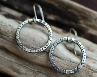 earring silver Sterling, creole, minimalist, graphic, engraved silver ring, timeless