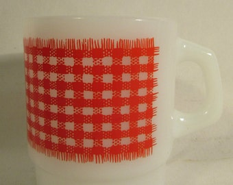Mug, FireKing, Anchor Hocking Oven-Proof #67, Red Gingham Pattern, Red on White, USA, 1960's