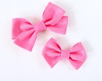 Bright Pink Criss Cross Hair Bow // Neon Hair Bows // Nylon Headband or Clips // Standard or Mini Size // Girls Hair Bow
