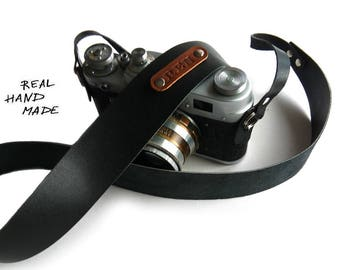 Custom Leather Camera Strap Personalized Gift Men For Women Handmade Personalized Gift SLR DSLR Camera Strap Black Name Initials