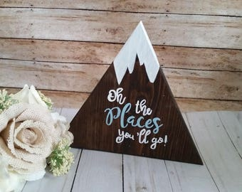 Wooden signs, adventure signs, let the aventure begin, oh the places you'll go, boy nursery decor, adventure nursery, mountain signs
