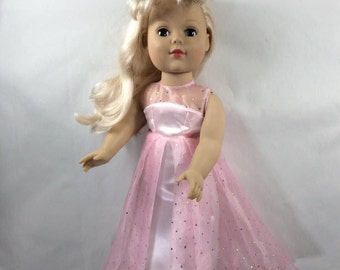 "18"" pink doll gown with over skirt, floor lenght pink doll gown, sleeveless pink doll gown, pink ball gown, floor length pink gown"