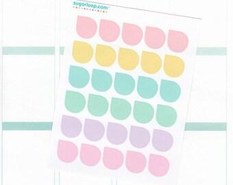 30 teardrop stickers, corner stickers, dew drop, mini stickers, planner stickers, life planner stickers, diary stickers, pastel, TDP2