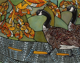 Wild Geese In Autumn Green Art Print - Geese Kitchen Decor - Canada Geese with Autumn Leaves Crossing a Road