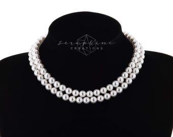 Pearl Choker Necklace Double Strand Bridal Necklace Wedding Jewelry Swarovski Bridal Jewelry Wedding Necklace Classic N32
