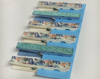 Magnetic clothespin set, hand painted fridge magnets, cream/ivory painted clothespins, washi tape clips, decorated clothespins, kitchen deco