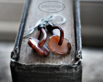 Earthy Brown Earrings Agate Beaded Oxidized Silver Artisan Jewelry Rustic Brown Leather Loops Boho
