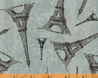 Destination Paris - Eiffel Tower Dusty Blue from Windham Fabrics