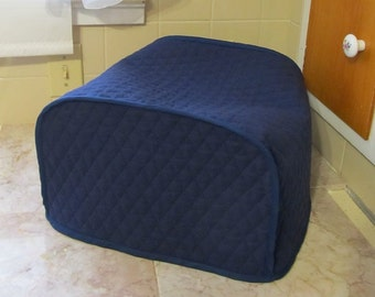 Navy Blue 4 Slice Toaster Cover Kitchen Quilted Fabric Small Appliance Cover Made To Order