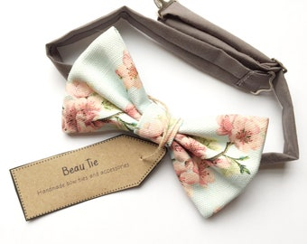 mens bow tie floral, duck egg blue bow tie, cherry blossom print, blue bow tie, men's floral bow tie
