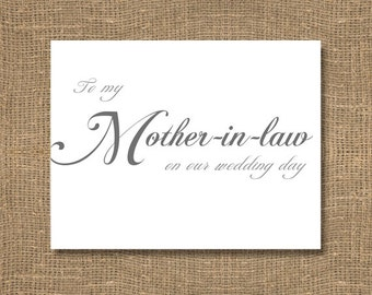To My Mother-in-Law on Our Wedding Day / Wedding Card / Sentimental / Classic Scripted Look / Folded Thank You / Day of Wedding / Ceremony