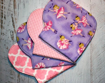 Burp Cloth Baby Shower Gift Set of Four Contoured Burp Cloths, Burp Rags, Gift for Girl Ballerinas Flannel Pink Terry Cloth, Absorbent