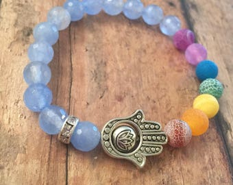 Chakra bracelet, Hamsa beaded bracelet, faceted agate beaded bracelet, Hamsa jewelry, protection symbols, chakra stone beads, gifts