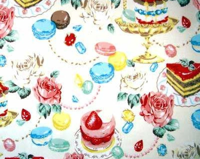 Strawberry Short CAKE ROSES Jewelry Gem Stones Beads CREAM Japan Cotton Quilt Fabric - Japanese Import Dessert Ivory
