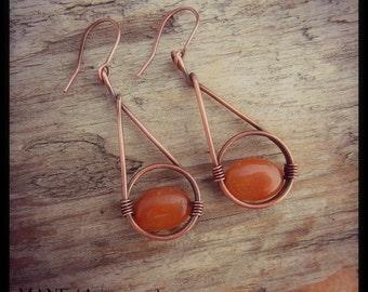 Copper Earrings - Carnelian Gemstone Earrings - Rustic - Hoop Earrings - Hand Made Copper Earrings