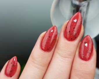 Durmstrang - custom handcrafted Harry Potter inspired red holographic bronze glitter nail polish
