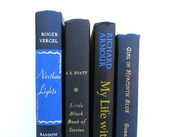 Black and Navy Vintage Books / Book Decor / Instant Library / Book Bundle / Decorative Books / Wedding Decor / Home Decor