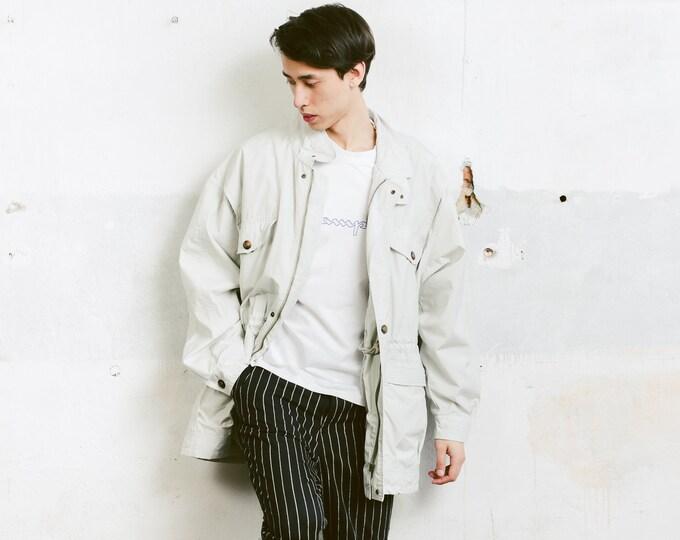 Men Spring Parka Coat . Grey Jacket Unisex 90s Outerwear Men Clothing Spring Coat Grey Parka  Boyfriend Gift . size Extra Large XL