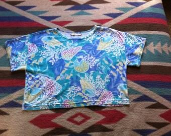 Vintage Super Soft SEA SHELL Pastel Short Sleeve Oversize Crop Top Size M/ L