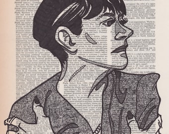 Dorothy Parker portrait drawn on an aged dictionary page containing her namesake