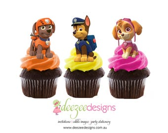 Paw Patrol Edible Wafer Stand-Up Cupcake Toppers - Set of 16 - WC004