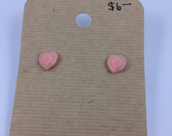 Pink heart resin earrings