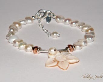 925 silver bracelet with pearls and cameo