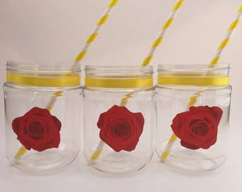 Beauty and the Beast Party Drink Cup: Beauty and the Beast Plastic Mason Jar, Beauty and the Beast Favor Jar