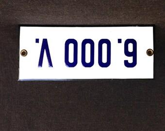 High voltage. 6.000 volts vintage enamel plate. Industrial retro home decor.