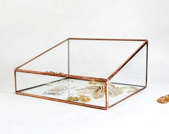 Glas-Box, große Glas-Display-Box, Glas-Schmuck-Box, Hochzeit Displaybox, Geschenk für Freundin, Geschenk für Mama, klar Glas-Schmuck-Box