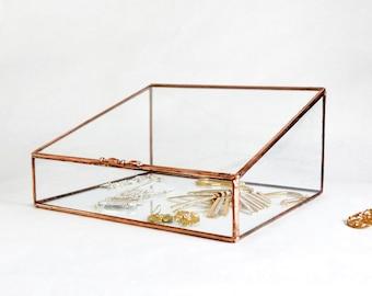 Glass Box, Large Glass Display Box, Glass Jewelry Box, Wedding Display Box, Gift For Girlfriend, Gift for Mom, Clear Glass Jewelry Box