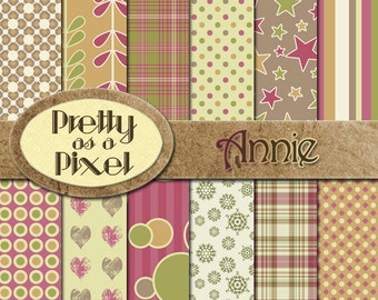 Digital Paper Pack - Annie - Scrapbooking Backgrounds - 12 x 12 - Set of 12 - INSTANT DOWNLOAD