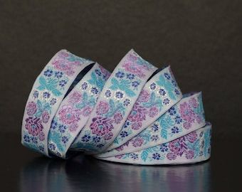 Embroidered Jacquard lace * flowers * 22 mm wide