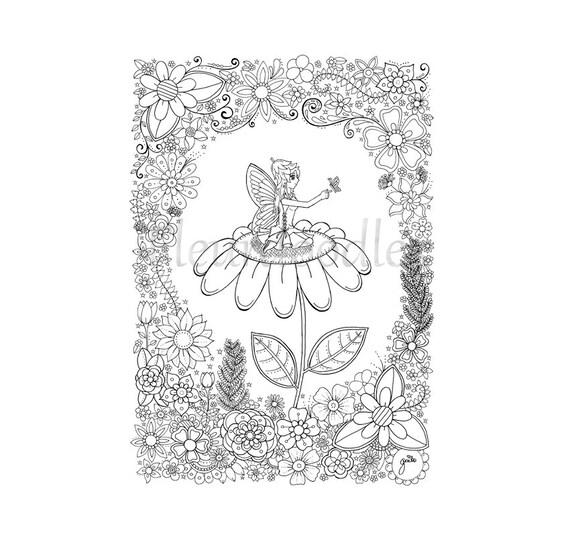 Malseite zum Ausdrucken Elfe Fee Schmetterling Blumen
