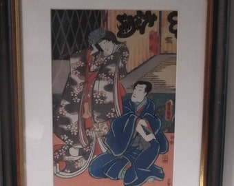 Autographed wood printing of Man and woman in interior-Japan-Ca. 1900