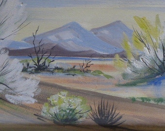 Vintage Carlo of Hollywood Desert Painting - Mid-Century Painting - Desert Oil Painting - Vintage Oil Painting - Desert Scene - The Texas