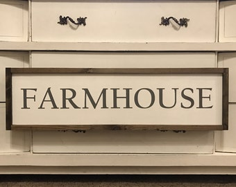 """MORE COLORS & SIZES 34x10 """"Farmhouse"""" / hand painted / wood sign / farmhouse style / rustic"""