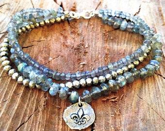 Multi-Strand Bracelet in Metallic Pyrite and Labradorite with Sterling Silver Fleur De Lis Charm