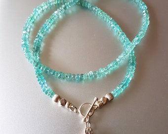 Faceted Blue APATITE Gemstone Necklace with Fine Silver Beads, Toggle Clasp and Flower Charm