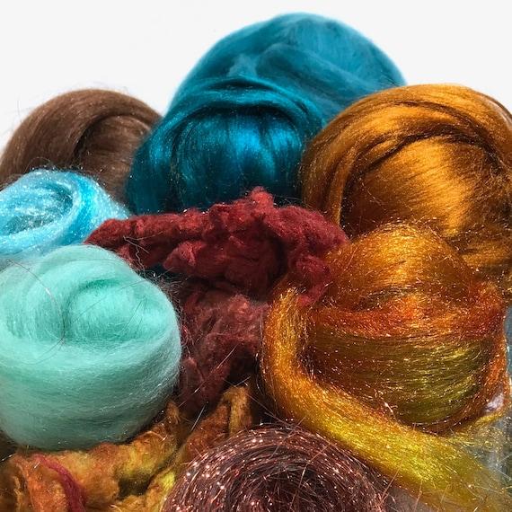 """Teal copper art batt KIT, Spinning KIT, fiber """"Verdigris"""" Nuno Needle felting wool, Teal turquoise sienna brown topaz DIY gift, blending kit"""