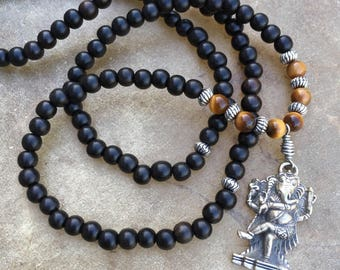 Mens 108 Mala Beads Ganesh Pendant Black Ebony Tigerseye Ganesha Necklace Yoga Jewelry Hindu God Yoga Necklace Tigers Eye Hindu Necklace AUM